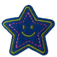 DARK BLUE SMILEY STAR MOTIF IRON ON EMBROIDERED PATCH APPLIQUE